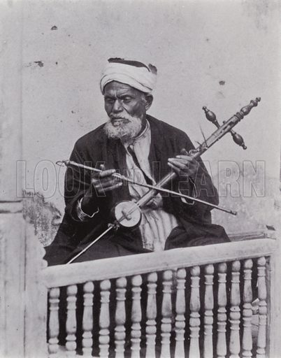 Arabian Musician playing the Rababa. Illustration for Souvenir of Egypt (George Ch Dovas, 1898).