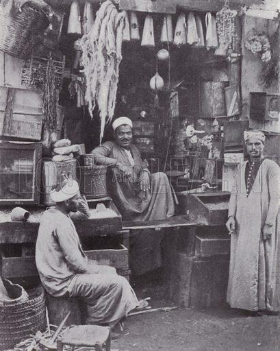 Arabian Grocer. Illustration for Souvenir of Egypt (George Ch Dovas, 1898).