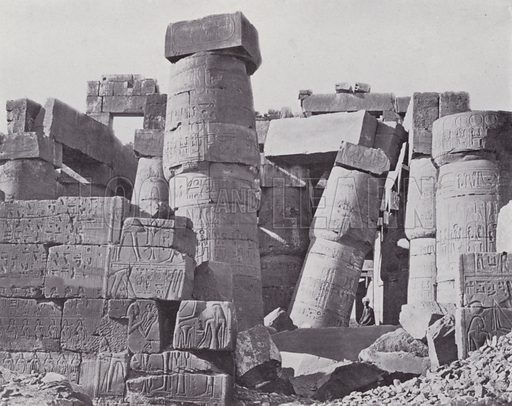 Interior of the Hypostyle Hall at the Temple of Karnak. Illustration for Souvenir of Egypt (George Ch Dovas, 1898).