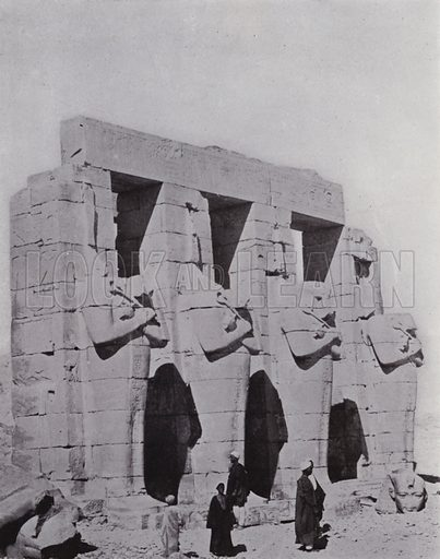 Ramseum at Thebes. Illustration for Souvenir of Egypt (George Ch Dovas, 1898).