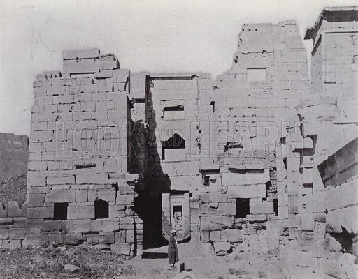 Entrance to the Temple of Thutmes II, at Medinet Habu. Illustration for Souvenir of Egypt (George Ch Dovas, 1898).