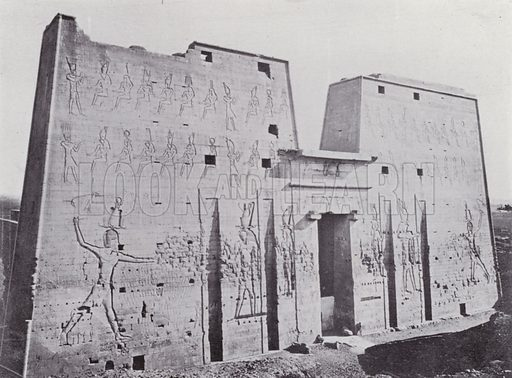 Pylon of the Temple of Edfu. Illustration for Souvenir of Egypt (George Ch Dovas, 1898).
