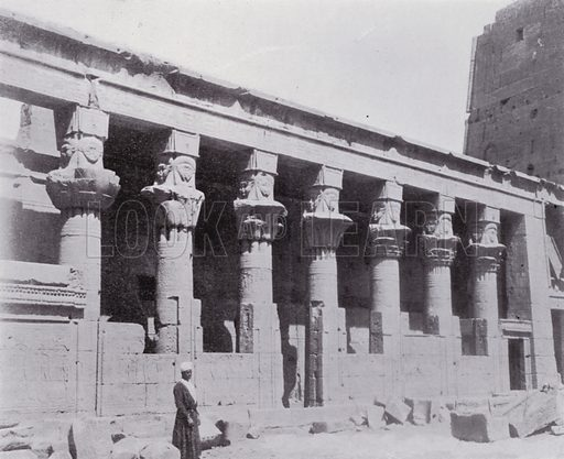 Colonnade of the Temple of Isis on the Island of Philae. Illustration for Souvenir of Egypt (George Ch Dovas, 1898).