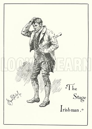 The Stage Irish-man. Illustration for Stage-Land: Curious Habits and Customs of its Inhabitants described by Jerome K Jerome, drawn by J Bernard Partridge (Chatto and Windus, 1890).