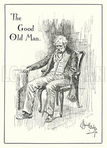 The Good Old Man. Illustration for Stage-Land: Curious Habits and Customs of its Inhabitants described by Jerome K Jerome, drawn by J Bernard Partridge (Chatto and Windus, 1890).