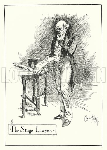 The Stage Lawyer. Illustration for Stage-Land: Curious Habits and Customs of its Inhabitants described by Jerome K Jerome, drawn by J Bernard Partridge (Chatto and Windus, 1890).