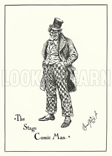 The Stage Comic Man. Illustration for Stage-Land: Curious Habits and Customs of its Inhabitants described by Jerome K Jerome, drawn by J Bernard Partridge (Chatto and Windus, 1890).