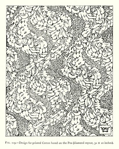 Design for printed Cotton based on the Pea, diamond repeat, 30 × 21 inches. Illustration for A Book of Studies in Plant Form with some Suggestions for their Application to Design by A E V Lilley and W Midgley (Chapman and Hall, 1900).