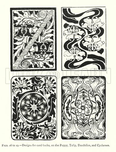 Designs for card-backs, on the Poppy, Tulip, Dandelion, and Cyclamen. Illustration for A Book of Studies in Plant Form with some Suggestions for their Application to Design by A E V Lilley and W Midgley (Chapman and Hall, 1900).