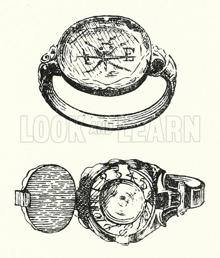 Sun-dial rings. Illustration for Sunday Reading for the Young, 1902 (Wells Gardner Darton).