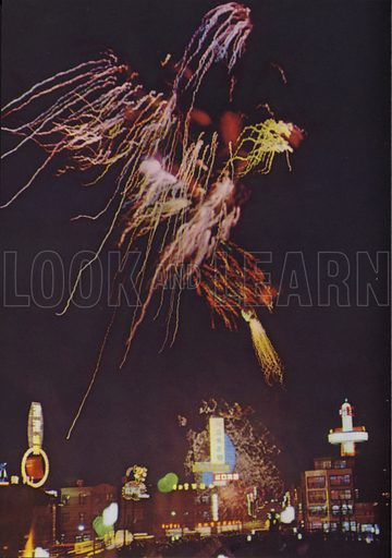 Fireworks on a mid-summer night, 1962. Illustration for Appointment Diary of the Republic of China (ie Taiwan) issued by the Government Information Office, published by the Free China Review Press.