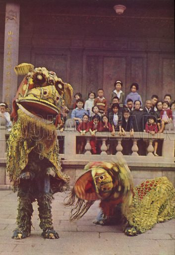 Lion Dancing as part of lunar New Year's fun, 1963. Illustration for Appointment Diary of the Republic of China (ie Taiwan) issued by the Government Information Office, published by the Free China Review Press.