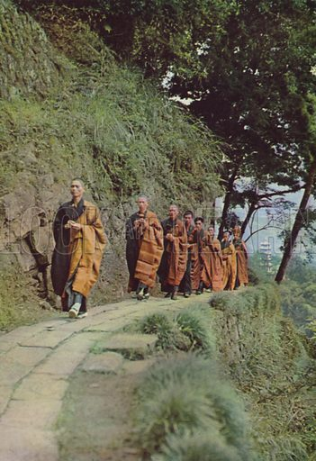 Buddhist monks climbing mountain, 1963. Illustration for Appointment Diary of the Republic of China (ie Taiwan) issued by the Government Information Office, published by the Free China Review Press.