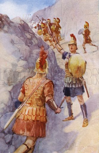 """The Spartans defending the Pass of the """"Hot Gates."""" Illustration for unidentified book about ancient civilisations, c 1910."""