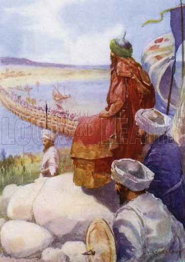 The King of Persia watching his army cross the Strait. Illustration for unidentified book about ancient civilisations, c 1910.