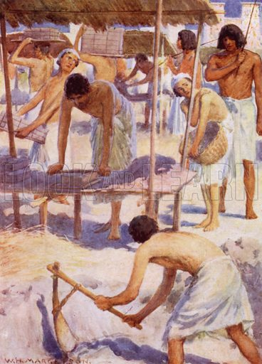 The Israelites making bricks. Illustration for unidentified book about ancient civilisations, c 1910.