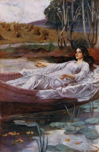 The Lady of Shalott. Illustration for selection of poems of Tennyson (Collins, c 1910).