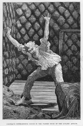 Coupeau's never-ending dance in the padded room of the Lunatic Asylum. Illustration for The Assommoir, A Realistic Novel, by Emile Zola (Vizetelly, 1885).