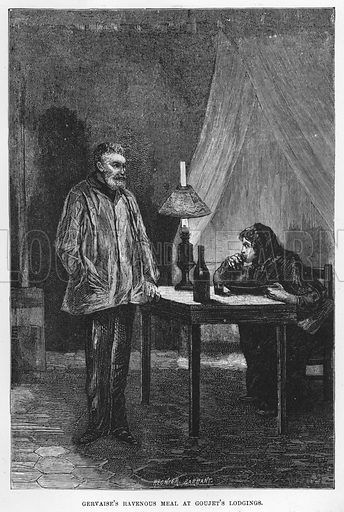 Gervaise's ravenous meal at Goujet's lodgings. Illustration for The Assommoir, A Realistic Novel, by Emile Zola (Vizetelly, 1885).