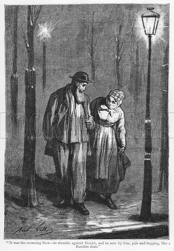 """""""It was the crowning blow, to stumble against Goujet, and be seen by him, pale and begging, like a Barriere drab."""" Illustration for The Assommoir, A Realistic Novel, by Emile Zola (Vizetelly, 1885)."""
