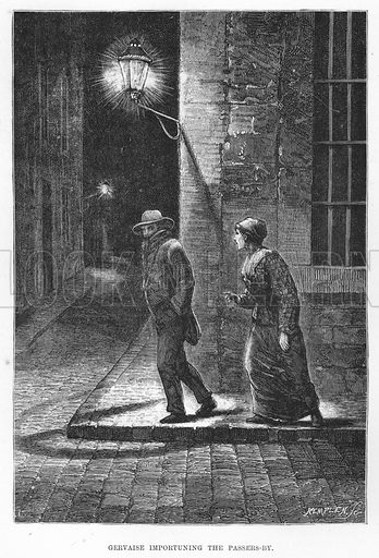 Gervaise importuning the passers-by. Illustration for The Assommoir, A Realistic Novel, by Emile Zola (Vizetelly, 1885).