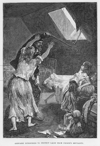 Gervaise interferes to protect Lalie from Fijard's brutality. Illustration for The Assommoir, A Realistic Novel, by Emile Zola (Vizetelly, 1885).