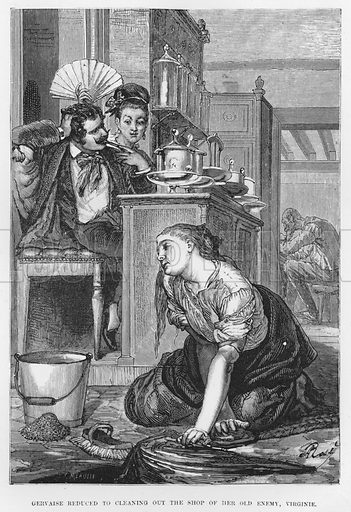Gervaise reduced to cleaning out the shop of her old enemy, Virginie. Illustration for The Assommoir, A Realistic Novel, by Emile Zola (Vizetelly, 1885).