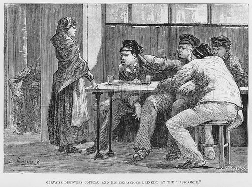 Gervaise discovers Coupeau and his companions drinking at the Assommoir. Illustration for The Assommoir, A Realistic Novel, by Emile Zola (Vizetelly, 1885).