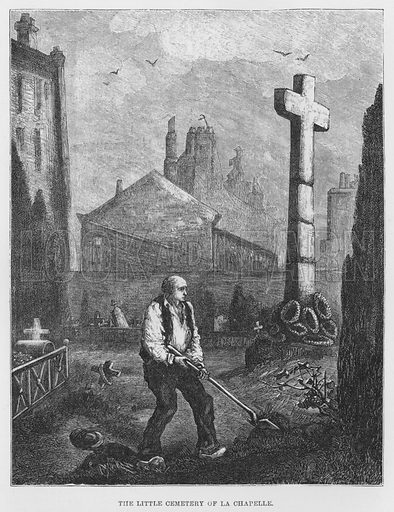 The little cemetery of La Chapelle. Illustration for The Assommoir, A Realistic Novel, by Emile Zola (Vizetelly, 1885).