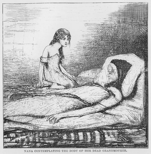 Nana contemplating the body of her dead grandmother. Illustration for The Assommoir, A Realistic Novel, by Emile Zola (Vizetelly, 1885).