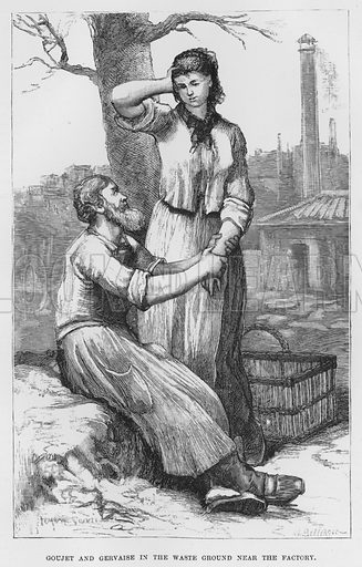 Goujet and Gervaise in the waste ground near the factory. Illustration for The Assommoir, A Realistic Novel, by Emile Zola (Vizetelly, 1885).