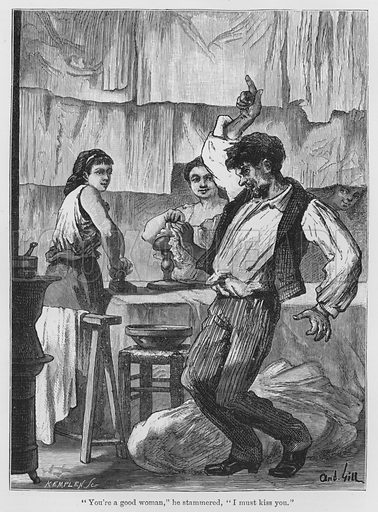 """""""You're a good woman,"""" he stammered, """"I must kiss you."""" Illustration for The Assommoir, A Realistic Novel, by Emile Zola (Vizetelly, 1885)."""