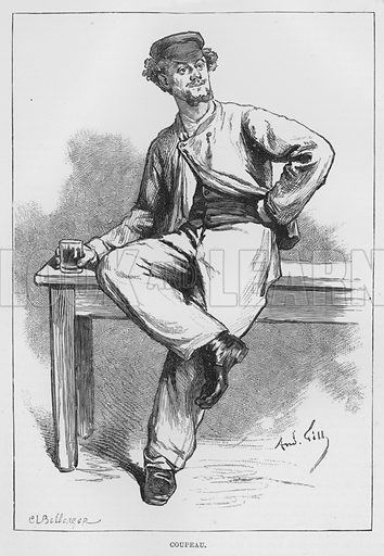 Coupeau. Illustration for The Assommoir, A Realistic Novel, by Emile Zola (Vizetelly, 1885).