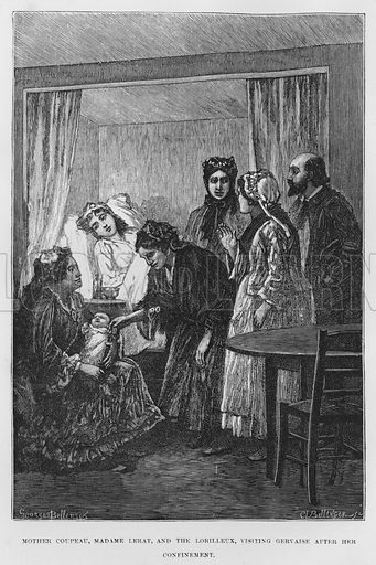 Mother Coupeau, Madame Lerat, and the Lorilleux, visiting Gervaise after her confinement. Illustration for The Assommoir, A Realistic Novel, by Emile Zola (Vizetelly, 1885).