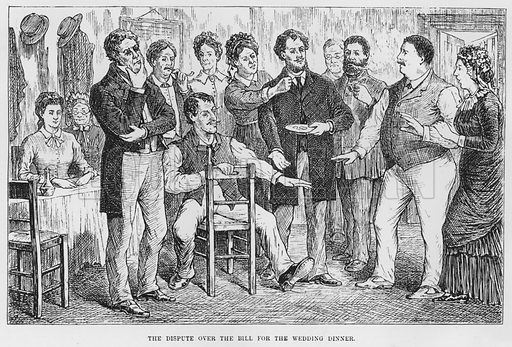 The dispute over the bill for the wedding dinner. Illustration for The Assommoir, A Realistic Novel, by Emile Zola (Vizetelly, 1885).