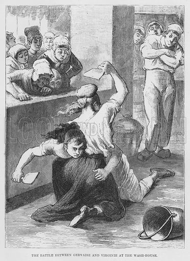 The battle between Gervaise and Virginie at the wash-house. Illustration for The Assommoir, A Realistic Novel, by Emile Zola (Vizetelly, 1885).