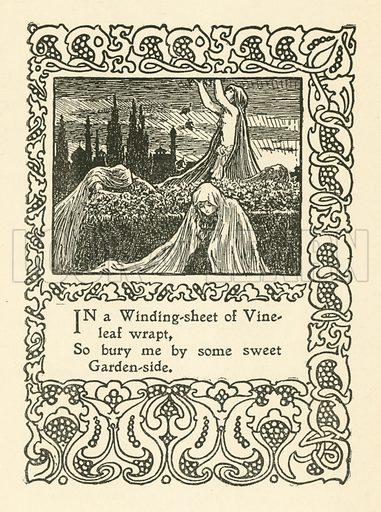 Illustration for Rubaiyat of Omar Khayyam, The Astronomer-Poet of Persia by Edward Fitzgerald (Gay and Hancock, c 1917).  Reprint of first edition published in 1859.