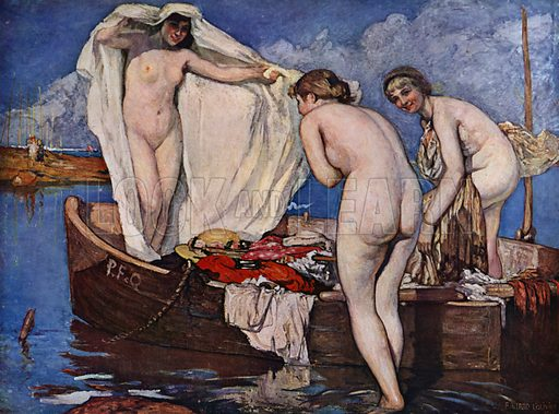 Baigneuses Surprises. Illustration for La Beaute De La Femme Dans L'Art by Boyer D'Agen (I Lapina, c 1910).