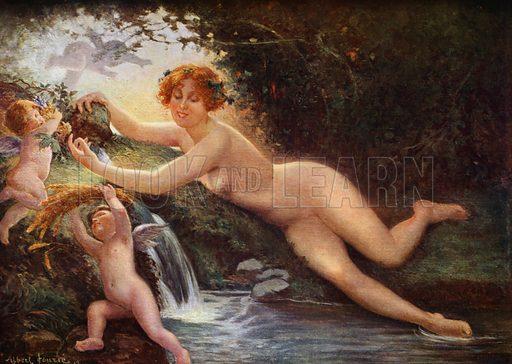La Nymphe de la source. Illustration for La Beaute De La Femme Dans L'Art by Boyer D'Agen (I Lapina, c 1910).