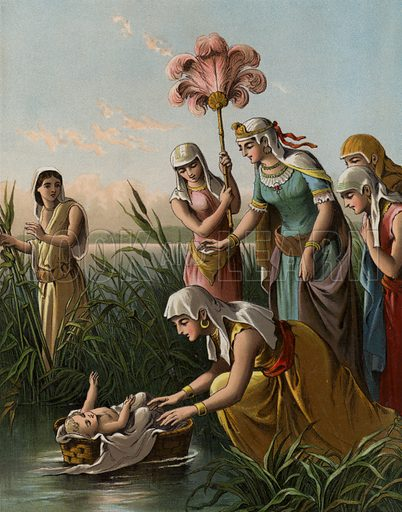 The finding of Moses. Illustration for The Bible Picture Book (Old Testament) (Thomas Nelson, c 1885).  Large chromolithographs of exceptional quality.