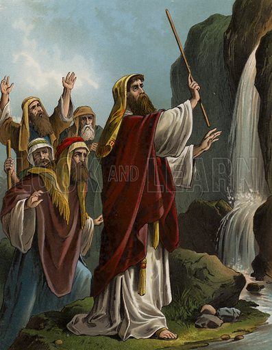 Moses striking the rock. Illustration for The Bible Picture Book (Old Testament) (Thomas Nelson, c 1885).  Large chromolithographs of exceptional quality.