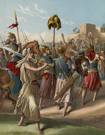David returning from the slaughter of the Philistine. Illustration for The Bible Picture Book (Old Testament) (Thomas Nelson, c 1885). Large chromolithographs of exceptional quality.