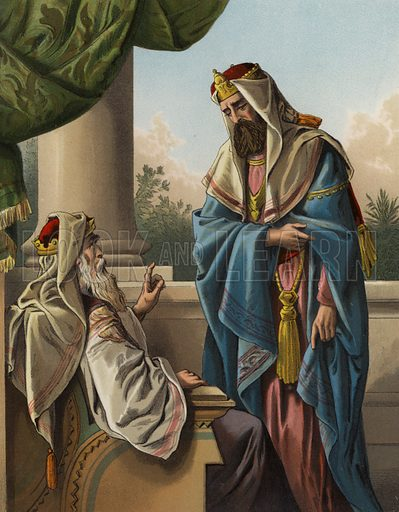 David giveth a charge to Solomon. Illustration for The Bible Picture Book (Old Testament) (Thomas Nelson, c 1885).  Large chromolithographs of exceptional quality.
