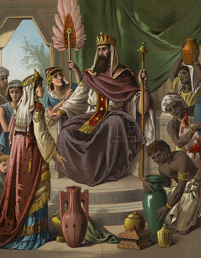 Visit of the Queen of Sheba to King Solomon. Illustration for The Bible Picture Book (Old Testament) (Thomas Nelson, c 1885).  Large chromolithographs of exceptional quality.