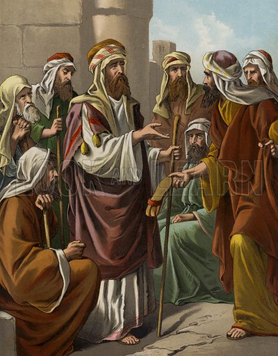 Boaz purchasing the inheritance of Elimelech. Illustration for The Bible Picture Book (Old Testament) (Thomas Nelson, c 1885).  Large chromolithographs of exceptional quality.
