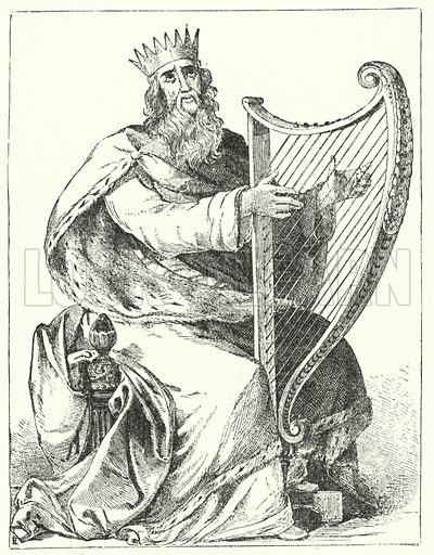 King David. Illustration for The Bible Picture Book (Old Testament) (Thomas Nelson, c 1885).