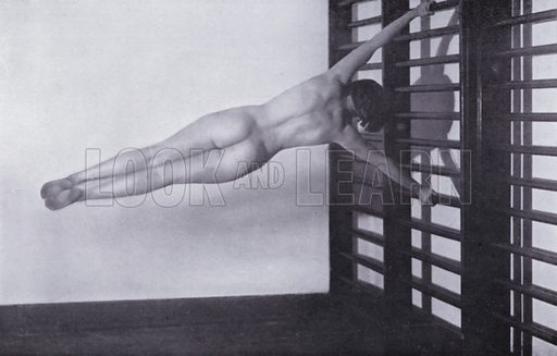 """Flag on stallbars. Illustration for The Body Beautiful, Physical Culture for Women, by Alice Bloch (Directress of the Orthopaedic Gymnastic Institute, Stuttgart) (John Lane The Bodley Head, c 1933).  In the book it is stated: """"The pictures in this book - taken with the co-operation of the Authoress by Will Balluff, W Tank and others - show the Alice Bloch, School at their exercises."""