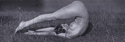 """Trunk rolling up backward. Illustration for The Body Beautiful, Physical Culture for Women, by Alice Bloch (Directress of the Orthopaedic Gymnastic Institute, Stuttgart) (John Lane The Bodley Head, c 1933).  In the book it is stated: """"The pictures in this book - taken with the co-operation of the Authoress by Will Balluff, W Tank and others - show the Alice Bloch, School at their exercises."""