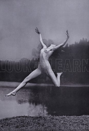 """Leaping for distance. Illustration for The Body Beautiful, Physical Culture for Women, by Alice Bloch (Directress of the Orthopaedic Gymnastic Institute, Stuttgart) (John Lane The Bodley Head, c 1933).  In the book it is stated: """"The pictures in this book - taken with the co-operation of the Authoress by Will Balluff, W Tank and others - show the Alice Bloch, School at their exercises."""