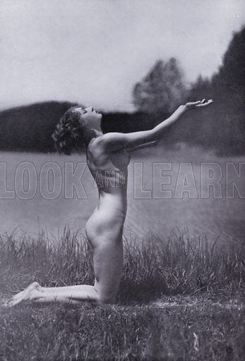 """Illustration for The Body Beautiful, Physical Culture for Women, by Alice Bloch (Directress of the Orthopaedic Gymnastic Institute, Stuttgart) (John Lane The Bodley Head, c 1933).  In the book it is stated: """"The pictures in this book - taken with the co-operation of the Authoress by Will Balluff, W Tank and others - show the Alice Bloch, School at their exercises."""
